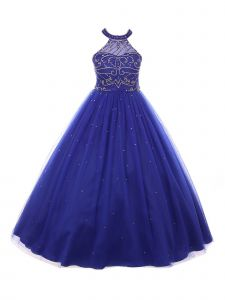 Big Girls Royal Blue Rhinestone Dazzling Halter Neck Tulle Party Dress 8-16