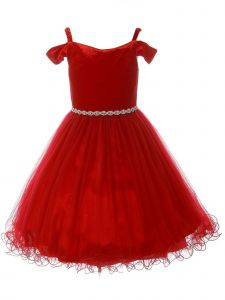 Little Girls Burgundy Rhinestone Velvet Off-Shoulder Christmas Dress 2-6