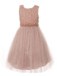 Big Girls Dusty Pink Pearl 3D Floral Accents Tulle Junior Bridesmaid Dress 8-16