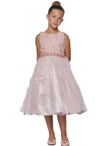 Little Girls Dusty Pink Pearl 3D Floral Accents Tulle Flower Girl Dress 2-6