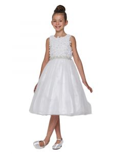 Little Girls White Pearl 3D Floral Accents Tulle Flower Girl Dress 2-6