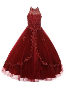 Big Girls Burgundy Dazzling Rhinestone Pearls Halter Neck Pageant Dress 8-16