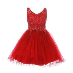 Little Girls Burgundy Rhinestone Pearl Beaded Tulle Flower Girl Dress 4-6