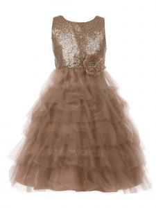 Little Girls Copper Sequin Tulle Cascade Floral Corsage Christmas Dress 2-6