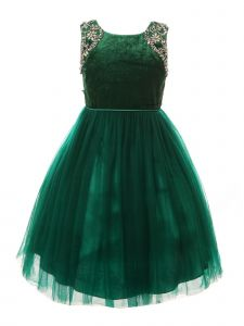 Little Girls Green Velvet Sparkle Rhinestone Tulle T-Length Christmas Dress 2-6