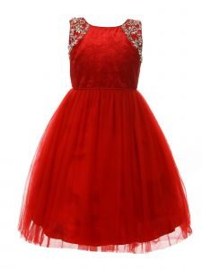 Big Girls Red Velvet Sparkle Rhinestone Tulle T-Length Christmas Dress 8-12
