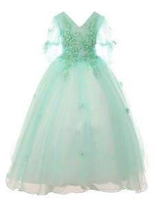 Cinderella Couture Big Girls Blue Floral Long Junior Bridesmaid Dress 8-16