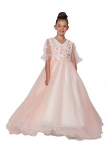 Cinderella Couture Little Girls Pink Floral Long Flower Girl Dress 2T-6