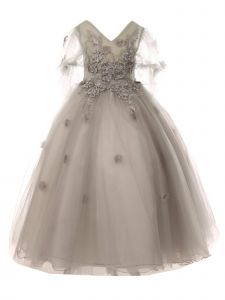 Cinderella Couture Big Girls Silver Floral Long Junior Bridesmaid Dress 8-16