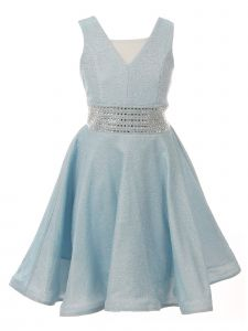 Cinderella Couture Big Girls Blue Sparkling Studs Junior Bridesmaid Dress 8-16