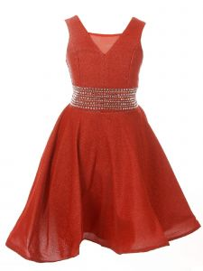 Cinderella Couture Little Girls Red Sparkling Studs Flower Girl Dress 4-6
