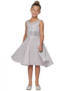 Cinderella Couture Big Girls Silver Sparkling Studs Junior Bridesmaid Dress 8-16
