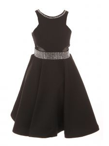 Cinderella Couture Big Girls Black Studs Fitted Junior Bridesmaid Dress 8-16