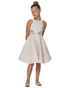 Cinderella Couture Big Girls Cream Studs Fitted Junior Bridesmaid Dress 8-16