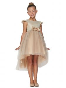 Cinderella Couture Big Girls Glitter Hi-Low Junior Bridesmaid Dress 8-12