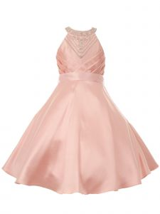 Big Girls Blush Side Pleated Rhinestone Halter Junior Bridesmaid Dress 8-16