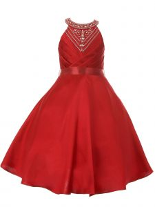 Little Girls Burgundy Side Pleated Rhinestone Halter Flower Girl Dress 2-6