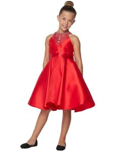 Little Girls Orange Side Pleated Rhinestone Halter Flower Girl Dress 2-6