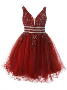Little Girls Burgundy Dazzling Rhinestone Tulle Christmas Dress 2-6