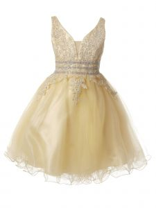 Little Girls Champagne Dazzling Rhinestone Tulle Christmas Dress 2-6