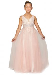 Big Girls Dusty Pink Dazzling Rhinestone Lace Soft Tulle Pageant Dress 8-16