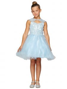 Little Girls Blue Rhinestone Halter Sweetheart Neckline Flower Girl Dress 2-6