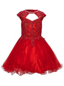 Little Girls Red Rhinestone Halter Sweetheart Neckline Christmas Dress 2-6