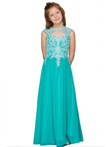 Little Girls Jade Rhinestone Halter Sweetheart Neckline Pageant Dress 4-6