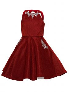 Girls Multi Color Metallic Crystal Halter Skater Christmas Dress 2-16