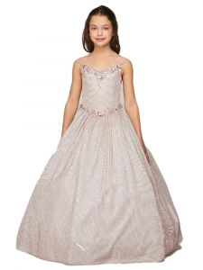 Girls Multi Color Metallic Two Tone Cap Sleeve Crystal Pageant Dress 4-16