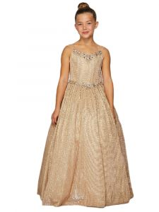 Big Girls Champagne Metallic Two Tone Cap Sleeve Crystal Pageant Dress 8-16