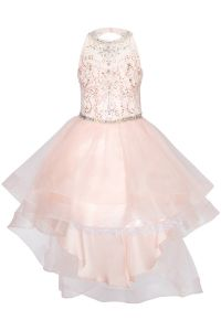 Cinderella Couture Big Girls Blush Crystal Pearl Halter Pageant Dress 8-16