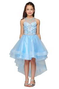 Cinderella Couture Big Girls Blue Crystal Pearl Halter Pageant Dress 8-16