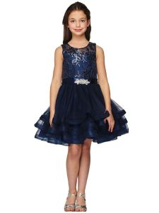 Girls Multi Color Triple Layer Skirt Crystal Brooch Junior Bridesmaid Dress 4-16