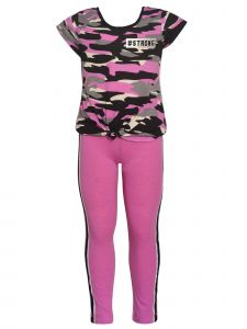 Girls Multi Colors Camouflage Print T-Shirt 2 Pc Leggings Outfit 4-14