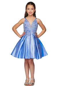 Big Girls Blue Spaghetti Strap V Neck Lace Junior Bridesmaid Dress 8-16