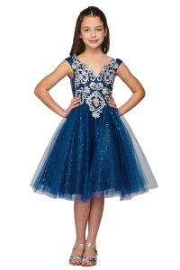 Girls Multi Color Silver Lace V Neck Sparkling Junior Bridesmaid Dress 4-16