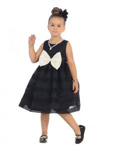 Bijan Kids Girls Black Stripe White Satin Bow Organza Flower Girl Dress 12M-6