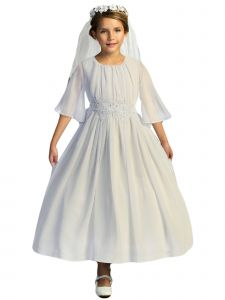 Kids Dream Big Girls White Chiffon Butterfly Sleeve Communion Dress 8