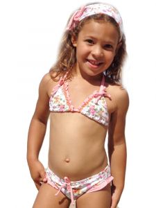 Azul Little Girls Pink Multi La Vie En Rose Triangle Bikini 2 Pc Swimsuit 4-6