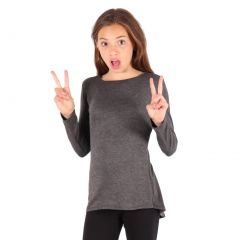 Lori&Jane Girls Charcoal Solid Color Hi-Low Long Sleeved Trendy T-Shirt 6-14