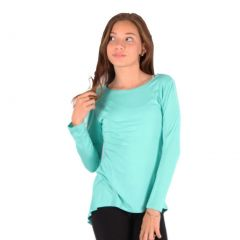 Lori&Jane Girls Mint Solid Color Hi-Low Long Sleeved Trendy T-Shirt 6-14