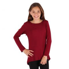 Lori&Jane Girls Burgundy Solid Color Hi-Low Long Sleeved Trendy T-Shirt 6-14