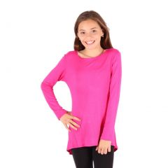 Lori&Jane Girls Hot Pink Solid Color Hi-Low Long Sleeved Trendy T-Shirt 6-14