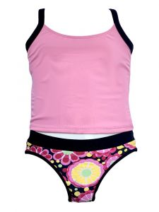 Azul Little Girls Pink Fresh Blossom 2 Pc Tankini Swimsuit 4