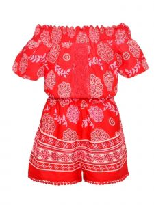 Real Love Little Girls Red Floral Motif Print Off-Shoulder Casual Romper 4-6X