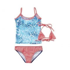 Azul Little Girls Blue Red Dot Floral American Dream 3 Pc Trikini Swimsuit 4-6