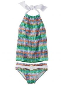 Azul Little Girls Multi Ripple Effect Belted Halter 2 Pc Tankini Swimsuit 4-6