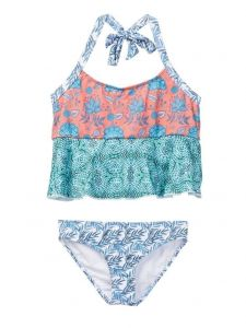 Azul Little Girls Multi Color Print Ruffle Tankini 2 Pc Swimsuit 2-6