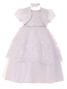 Rain Kids Baby Girls White Pearl Sequin Beaded Christening Bolero Dress 0-12M
